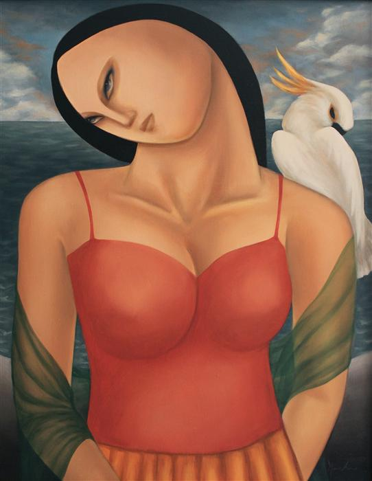 Discover Original Art by Naoko Paluszak | Woman with Cockatoo II oil painting | Art for Sale Online at UGallery