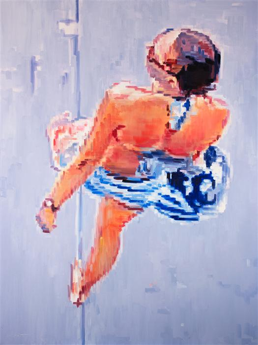 Original art for sale at UGallery.com | Woman at Santa Monica Beach Boardwalk Carrying Sneakers and Helmet by WARREN KEATING | $4,275 | Oil painting | 48' h x 36' w | http://www.ugallery.com/oil-painting-woman-at-santa-monica-beach-boardwalk-carrying-sneakers-and-helmet