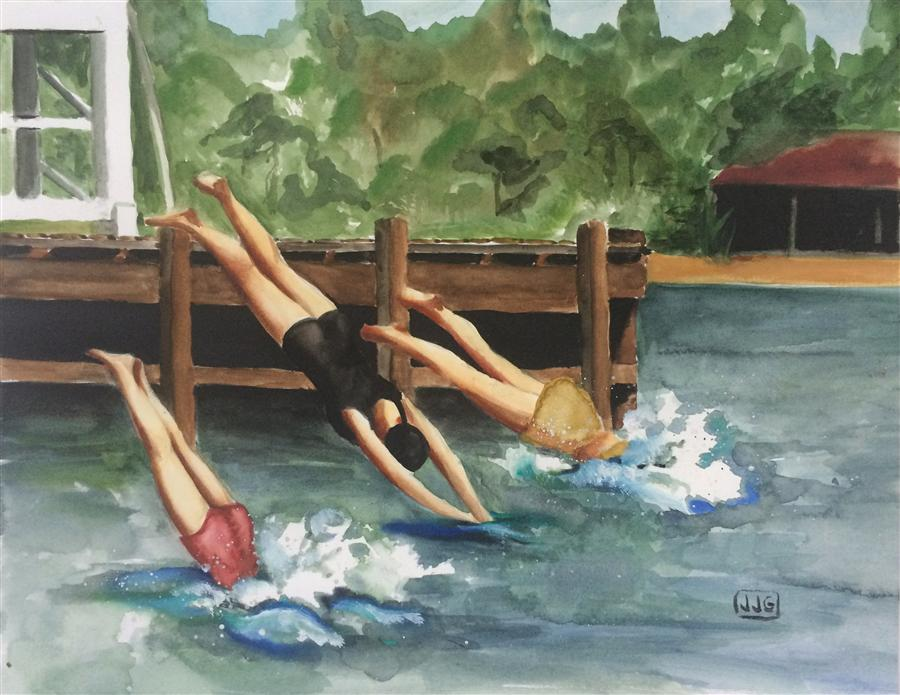 Original art for sale at UGallery.com | Diving Girls by JJ GALLOWAY | $525 | Watercolor painting | 10.5' h x 13' w | http://www.ugallery.com/watercolor-painting-diving-girls