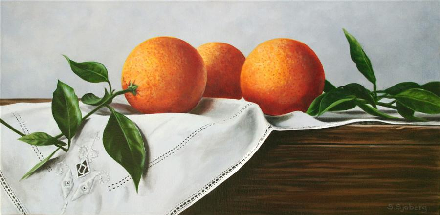 Original art for sale at UGallery.com | Oranges on Linen by SUSAN SJOBERG | $1,050 | Acrylic painting | 12' h x 24' w | http://www.ugallery.com/acrylic-painting-oranges-on-linen