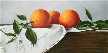 Still Life art,Classical art,Cuisine art,Realism art,Representational art,acrylic painting,Oranges on Linen
