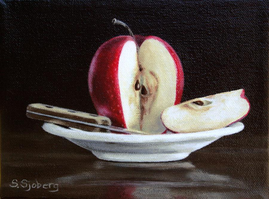 Original art for sale at UGallery.com | Apple Slice by SUSAN SJOBERG | $350 | Acrylic painting | 6' h x 8' w | http://www.ugallery.com/acrylic-painting-apple-slice