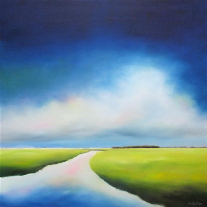 Original art for sale at UGallery.com | Indigo Sky Marsh by NANCY HUGHES MILLER | $1,325 | Oil painting | 30' h x 30' w | http://www.ugallery.com/oil-painting-indigo-sky-marsh