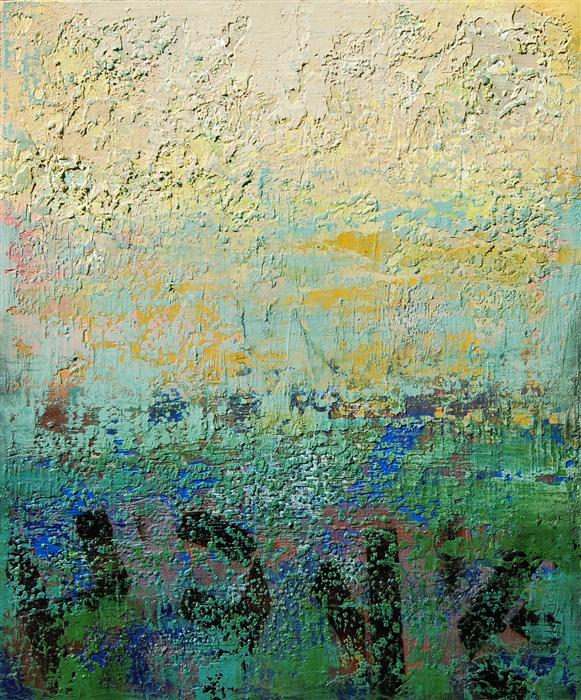 Discover Original Art by Janet Hamilton | Abstract Landscape L mixed media artwork | Art for Sale Online at UGallery