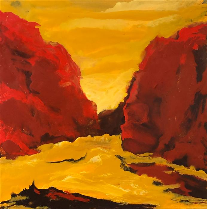 Discover Original Art by Mandy Main | Red Canyon Encaustic encaustic artwork | Art for Sale Online at UGallery