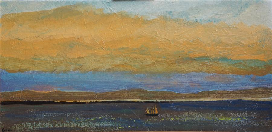 Original art for sale at UGallery.com | Three Mast Schooner by SIDONIE CARON | $875 | Acrylic painting | 15' h x 30' w | http://www.ugallery.com/acrylic-painting-three-mast-schooner