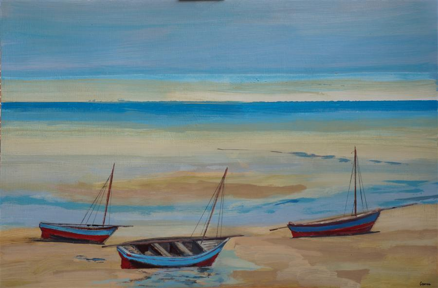 Original art for sale at UGallery.com | A Trio of Dhows by SIDONIE CARON | $2,950 | Acrylic painting | 30' h x 45' w | http://www.ugallery.com/acrylic-painting-a-trio-of-dhows