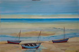 Discover Original Art by Sidonie Caron | A Trio of Dhows acrylic painting | Art for Sale Online at UGallery