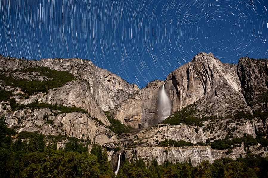 Discover Original Art by Jay Moore | Yosemite Falls by Full Moon with Starry Night photography | Art for Sale Online at UGallery