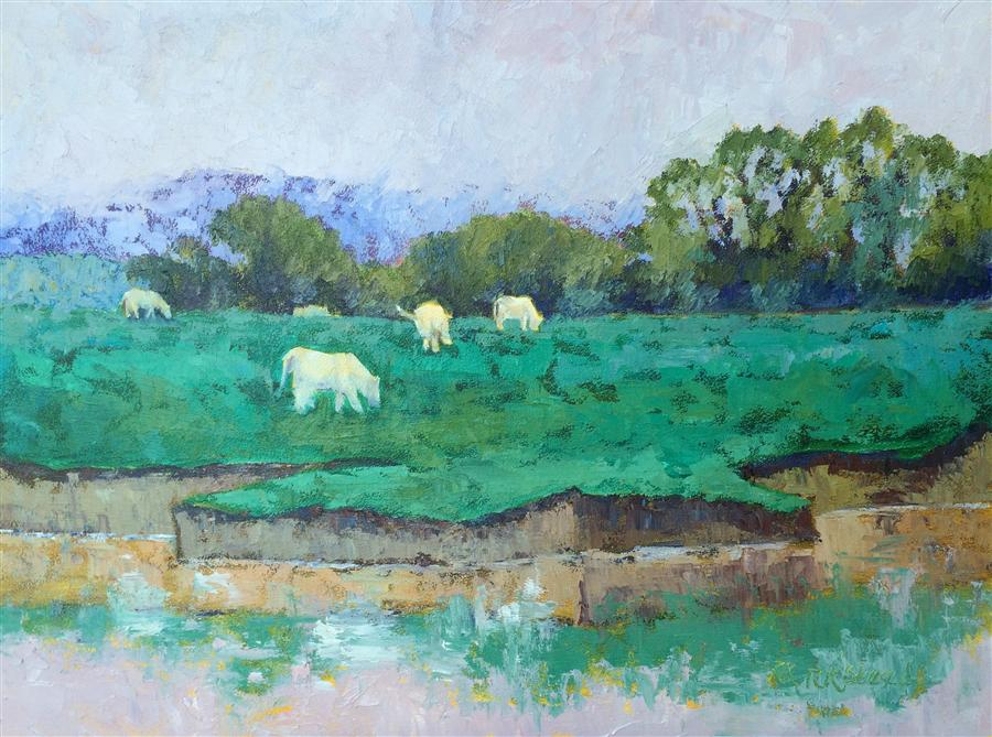 Original art for sale at UGallery.com | Charolais du Rhone by ROXANNE STEED | $1,175 | Oil painting | 18' h x 24' w | http://www.ugallery.com/oil-painting-charolais-du-rhone