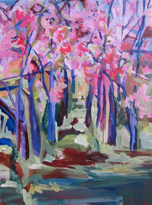 Original art for sale at UGallery.com | Musical Cherry Blossoms by COLETTE WIRZ NAUKE | $2,250 | Acrylic painting | 40' h x 30' w | http://www.ugallery.com/acrylic-painting-musical-cherry-blossoms