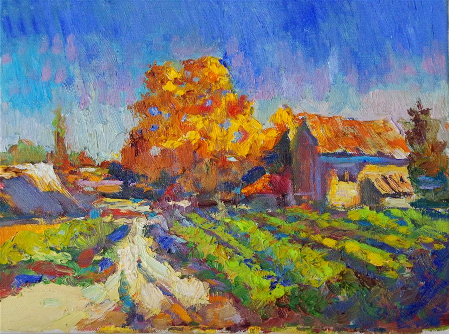 Discover Original Art by Suren Nersisyan | Vineyard (Early Evening, Fall) oil painting | Art for Sale Online at UGallery