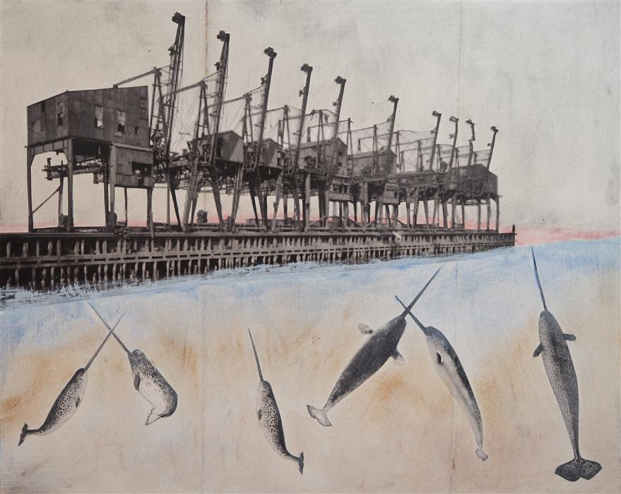 Original art for sale at UGallery.com | Dock Piercing by LESLIE MORGAN | $775 | Mixed media artwork | 16' h x 20' w | http://www.ugallery.com/mixed-media-artwork-dock-piercing