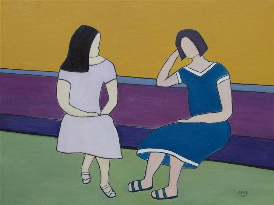 Original art for sale at UGallery.com | Conversation by FENG BIDDLE | $1,625 | Oil painting | 30' h x 40' w | http://www.ugallery.com/oil-painting-conversation-38794