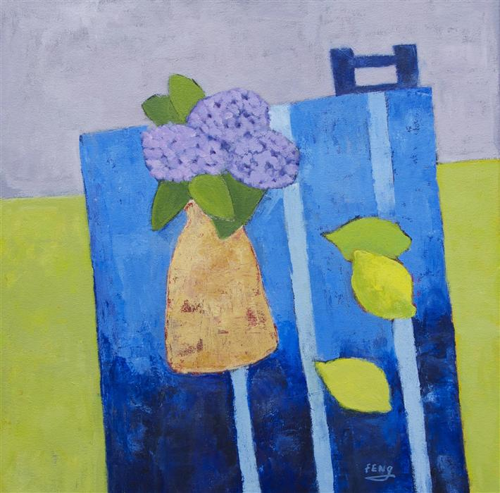 Discover Original Art by Feng Biddle | Hydrangea and Three Lemons acrylic painting | Art for Sale Online at UGallery