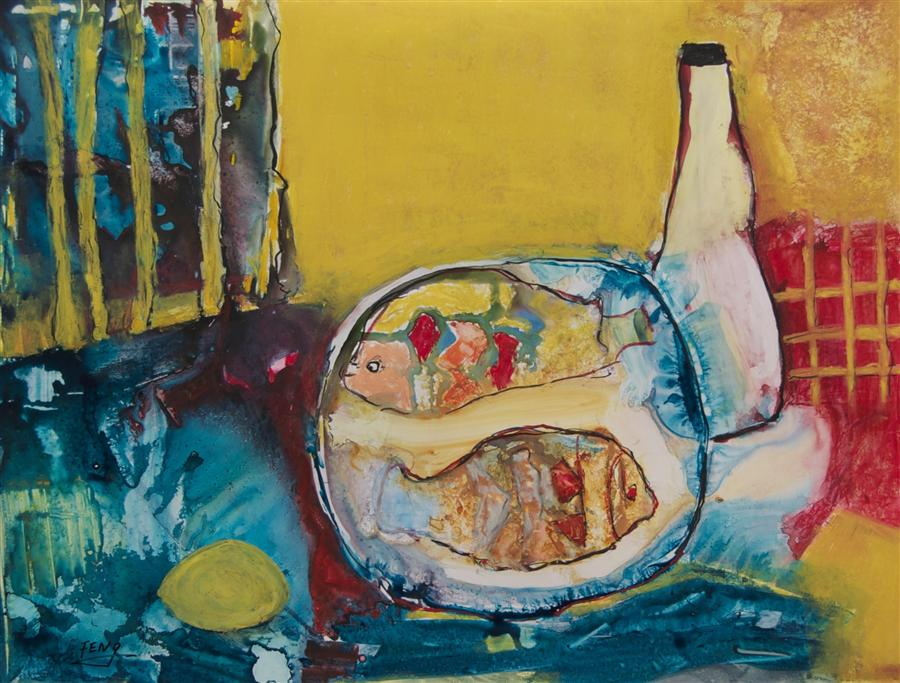 Original art for sale at UGallery.com | Fish and Lemon by FENG BIDDLE | $750 | Mixed media artwork | 19' h x 23' w | http://www.ugallery.com/mixed-media-artwork-fish-and-lemon