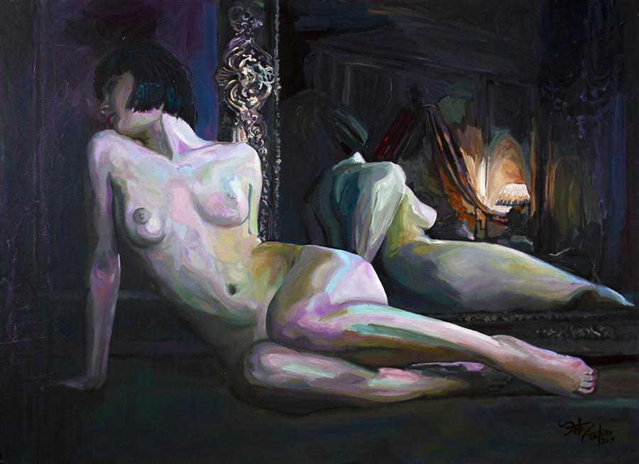 Original art for sale at UGallery.com | Frederique, Nude by SETH COUTURE | $3,075 | Acrylic painting | 34' h x 48' w | http://www.ugallery.com/acrylic-painting-frederique-nude