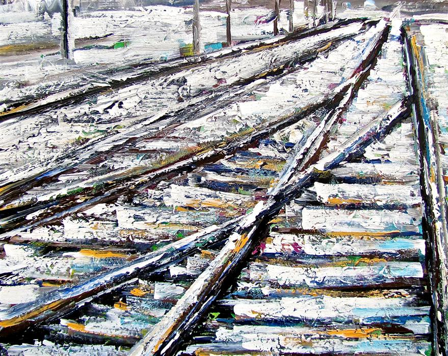 Discover Original Art by Ina Shtukar | Tracks IV acrylic painting | Art for Sale Online at UGallery