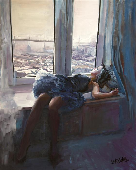 Original art for sale at UGallery.com | Eliana by the Bay by SETH COUTURE | $1,200 | Acrylic painting | 30' h x 24' w | http://www.ugallery.com/acrylic-painting-eliana-by-the-bay