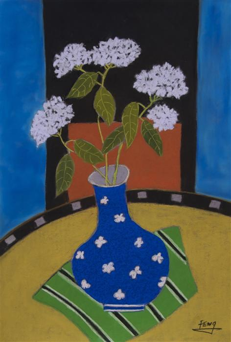 Original art for sale at UGallery.com | White Hydrangea in Blue Vase by FENG BIDDLE | $775 | Pastel artwork | 22.5' h x 17.5' w | http://www.ugallery.com/pastel-artwork-white-hydrangea-in-blue-vase