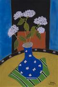 Still Life art,Flora art,Representational art,pastel artwork, White Hydrangea in Blue Vase