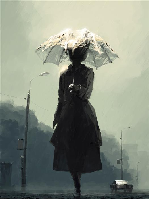 Original art for sale at UGallery.com | Rain in the City by ALEX ANDREEV | $1,500 | Digital printmaking | 37' h x 28' w | http://www.ugallery.com/digital-printmaking-rain-in-the-city