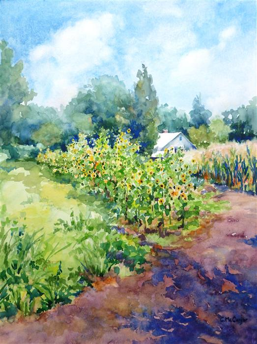Discover Original Art by Catherine McCargar | Sunflower Farm watercolor painting | Art for Sale Online at UGallery