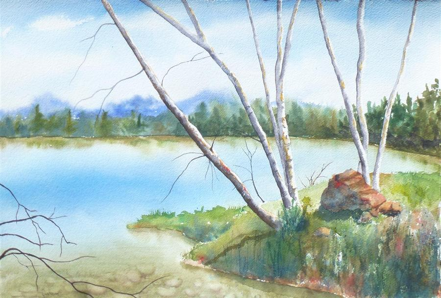 Discover Original Art by Nancy Graham | Autumn in Fort Collins watercolor painting | Art for Sale Online at UGallery