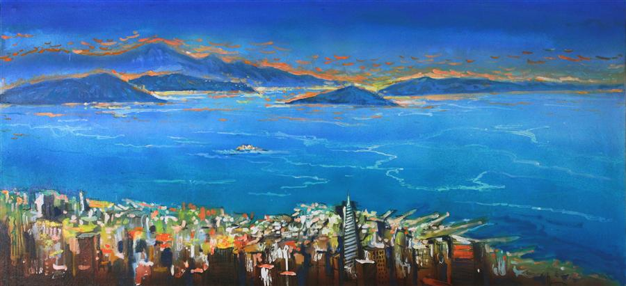 Original art for sale at UGallery.com | A View of Marin Headlands from Twin Peaks by YUVAK TULADHAR | $2,450 | Acrylic painting | 24' h x 52' w | http://www.ugallery.com/acrylic-painting-a-view-of-marin-headlands-from-twin-peaks