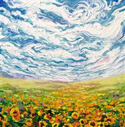 Discover Original Art by Iris Scott | Big Sky and Small Sunflowers oil painting | Art for Sale Online at UGallery