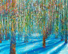Discover Original Art by Iris Scott | Snowfall oil painting | Art for Sale Online at UGallery