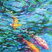 Discover Original Art by Iris Scott | Koi Pool oil painting | Art for Sale Online at UGallery