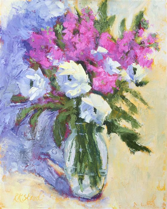 Discover Original Art by Roxanne Steed | Roses and Phlox oil painting | Art for Sale Online at UGallery