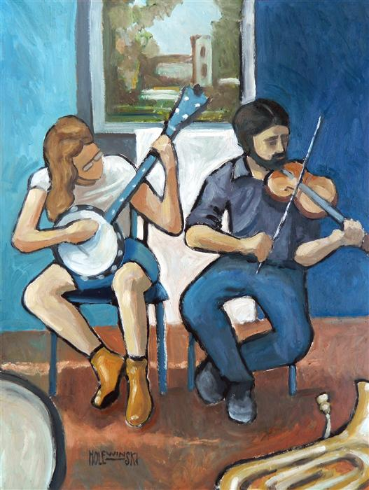Discover Original Art by Robert  Holewinski | Street Musicians, Downtown Charlottesville oil painting | Art for Sale Online at UGallery