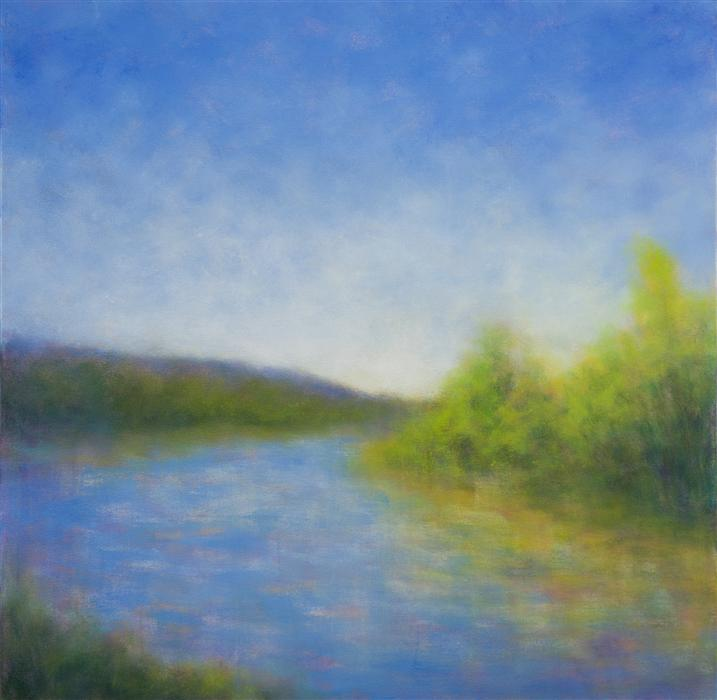 Original art for sale at UGallery.com | Upper Ranch Lake, Sonoma by VICTORIA VEEDELL | $1,725 | Oil painting | 30' h x 30' w | http://www.ugallery.com/oil-painting-upper-ranch-lake-sonoma