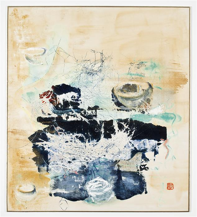 Original art for sale at UGallery.com | Tea Bowls Gold by DIANE ABT | $350 | Mixed media artwork | 10.5' h x 9.5' w | http://www.ugallery.com/mixed-media-artwork-tea-bowls-gold
