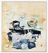 Abstract art,Expressionism art,Non-representational art,mixed media artwork,Tea Bowls Gold