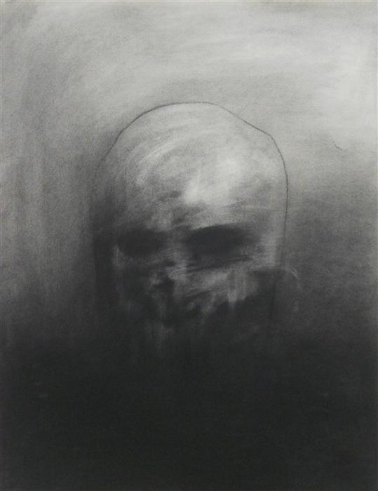 Discover Original Art by Drew McSherry | Death's Head charcoal drawing | Art for Sale Online at UGallery