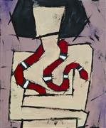 People art,Representational art,Primitive art,Modern  art,acrylic painting,Girl with a Snake