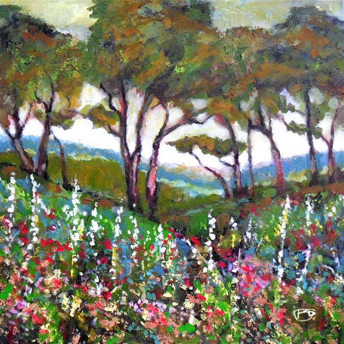 Original art for sale at UGallery.com | Hillside Garden by KIP DECKER | $2,500 | Acrylic painting | 36' h x 36' w | http://www.ugallery.com/acrylic-painting-hillside-garden