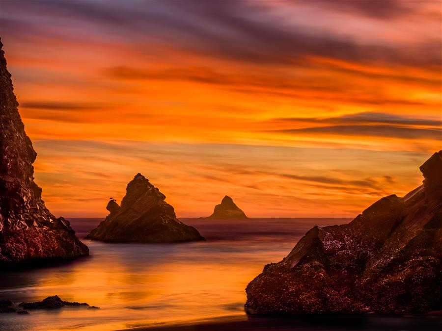 Discover Original Art by Jay Moore | Oregon Coast Sunset, Arch Cape photography | Art for Sale Online at UGallery