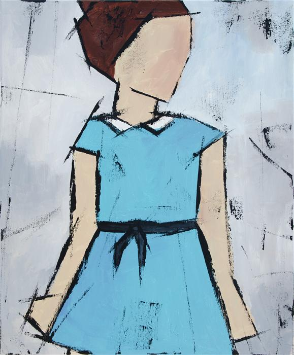 Original art for sale at UGallery.com | Girl in a Blue Dress by TANYA GRABKOVA | $875 | Acrylic painting | 24' h x 20' w | http://www.ugallery.com/acrylic-painting-girl-in-a-blue-dress
