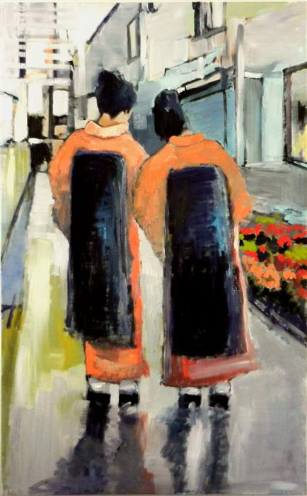 Discover Original Art by Mary Pratt | Geishas on Walkway oil painting | Art for Sale Online at UGallery
