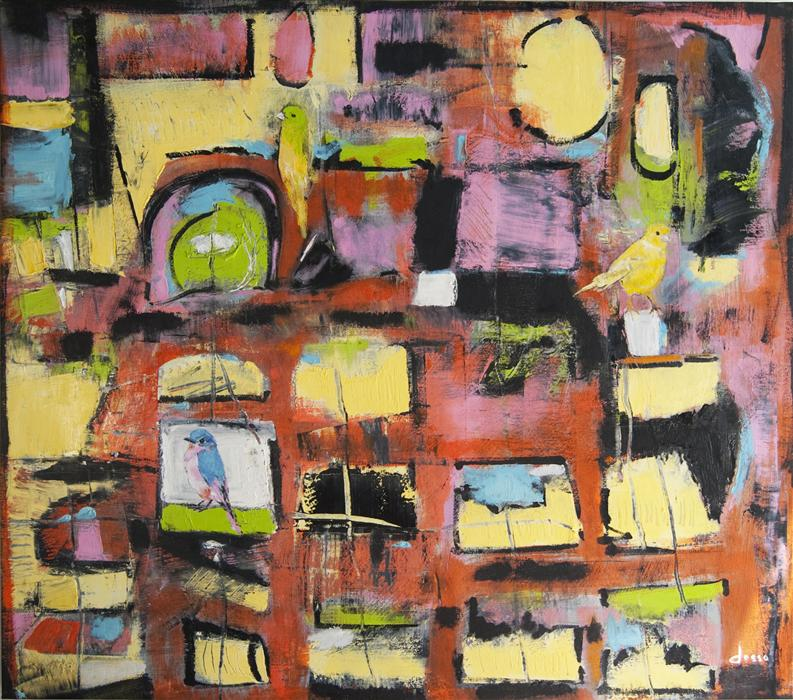 Original art for sale at UGallery.com | Canaries in the City by ANNE DOSSO-POWELL | $2,375 | Oil painting | 35' h x 45' w | http://www.ugallery.com/oil-painting-canaries-in-the-city