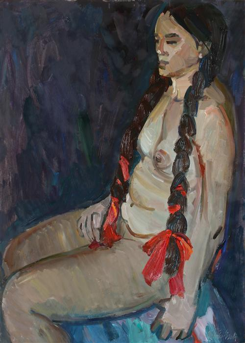 Original art for sale at UGallery.com | Seated Nude by JULIYA ZHUKOVA | $1,350 | Oil painting | 27' h x 20' w | http://www.ugallery.com/oil-painting-seated-nude-39201