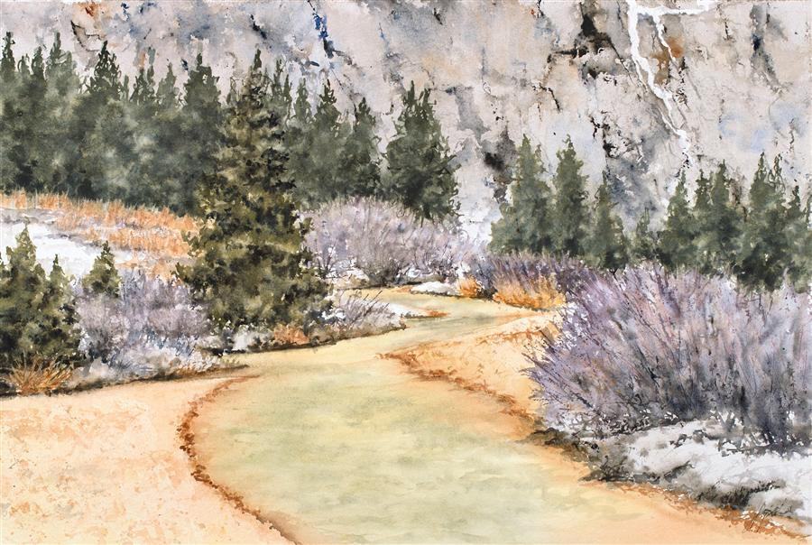Original art for sale at UGallery.com | Red Mountain Creek: Toxic Beauty? by JILL E. POYERD | $1,275 | Watercolor painting | 15' h x 22' w | http://www.ugallery.com/watercolor-painting-red-mountain-creek-toxic-beauty