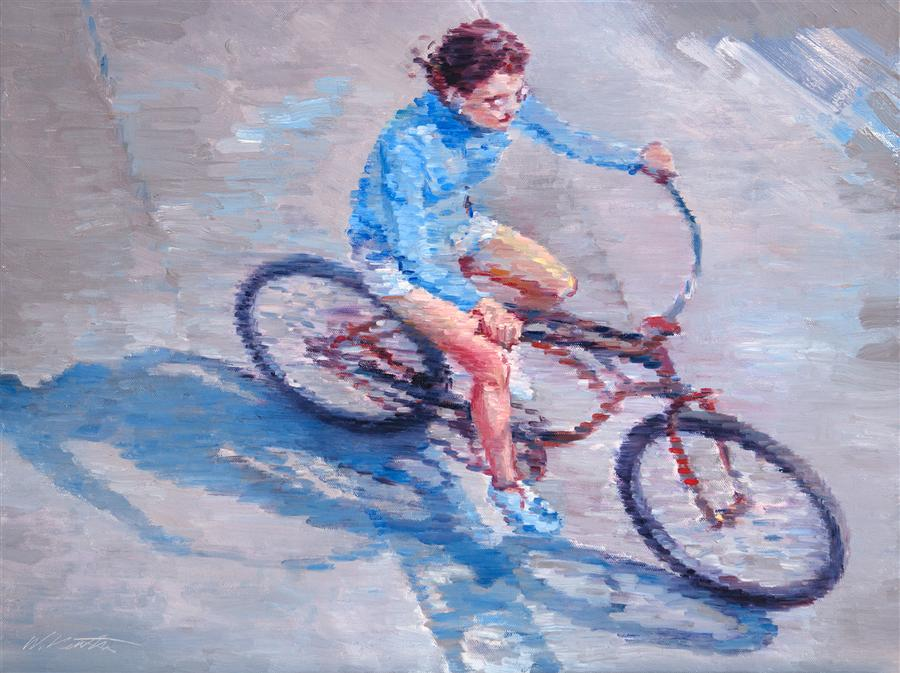 Discover Original Art by Warren Keating | Impressions of a Woman Riding a Bicycle in Southern California oil painting | Art for Sale Online at UGallery