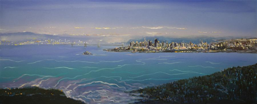 Original art for sale at UGallery.com | San Francisco from Sausalito by YUVAK TULADHAR | $3,075 | Acrylic painting | 24' h x 58' w | http://www.ugallery.com/acrylic-painting-san-francisco-from-sausalito