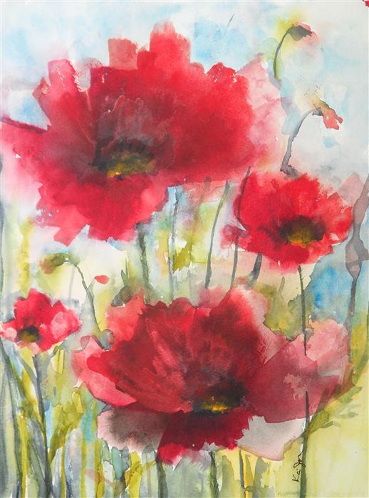 Discover Original Art by Karin Johannesson | Red Poppies XIV watercolor painting | Art for Sale Online at UGallery