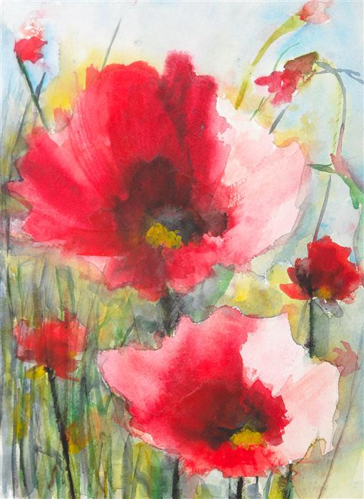 Original art for sale at UGallery.com | Red Poppies XV by KARIN JOHANNESSON | $400 | Watercolor painting | 15' h x 11' w | http://www.ugallery.com/watercolor-painting-red-poppies-xv